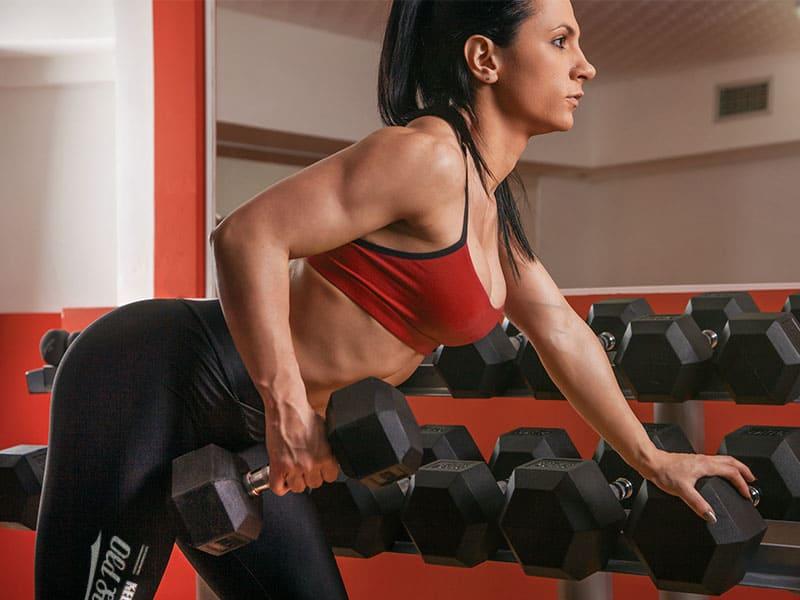 Triceps dumbbell kickbacks