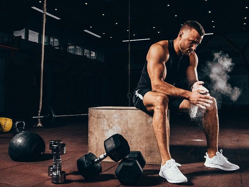relaxed bodybuilder in gym