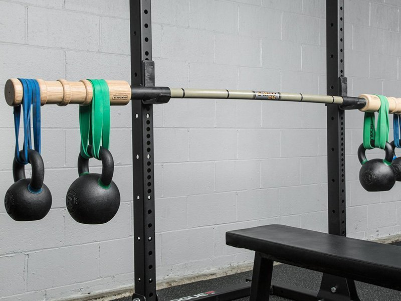 Hanging band barbell curl