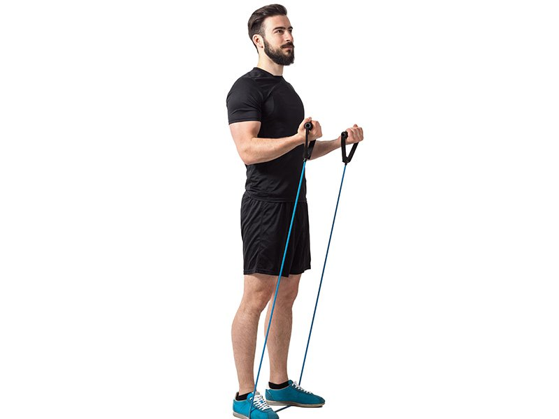 Standing resistance band curl