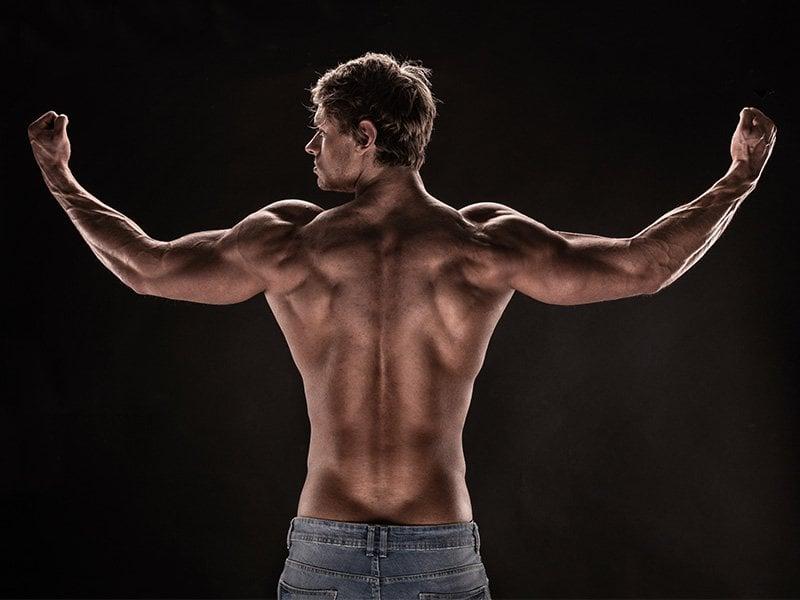 Flexed upper body
