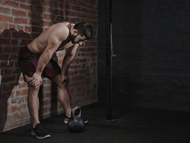fatigued bodybuilder