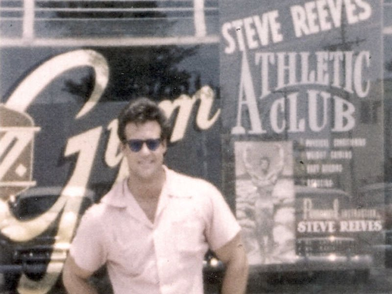 Steve Reeves at a gym opening