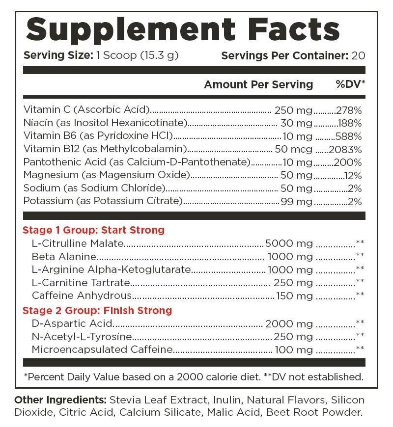 Vintage Blast Sizzling Strawberry Supplement Facts