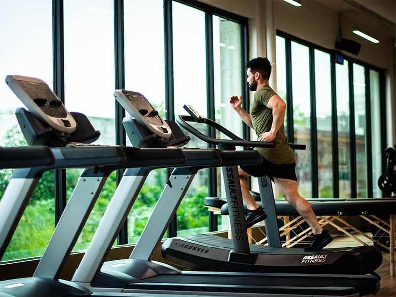Man At Gym on Treadmill