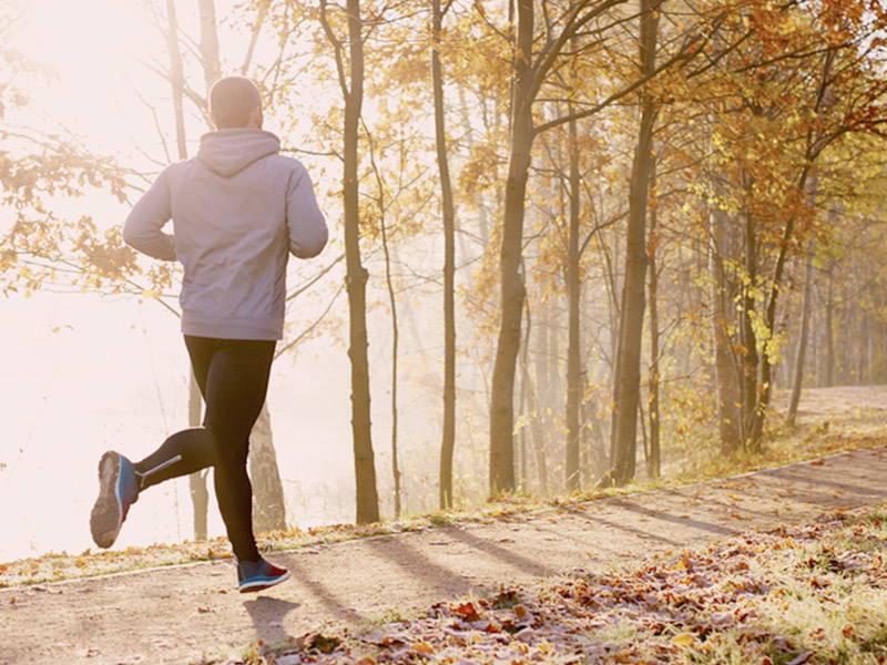Running in the fall morning