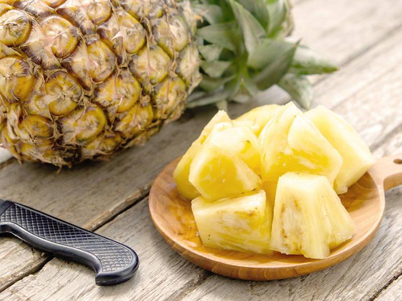 Sliced up pineapple
